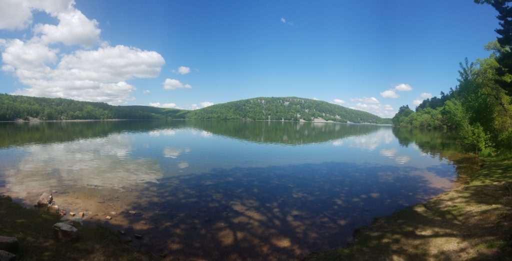Panorama of the Devil's Lake from the south shore not far from the parking lot