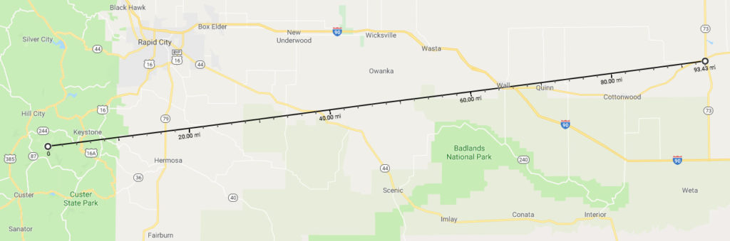 Google Maps shows straight-line path of my radio contact with the N0OMP repeater from Black Elk Peak