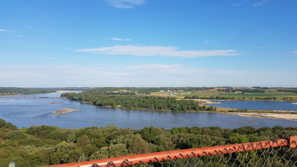 Beautiful panorama of the Platte River from the top of the observation tower.