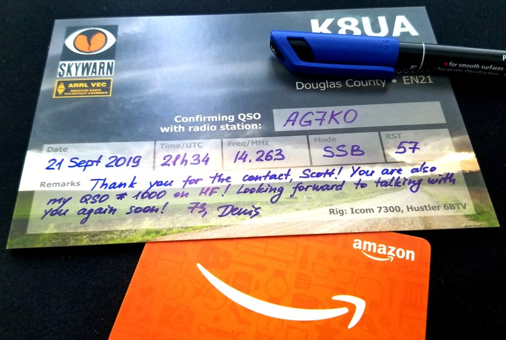 My QSL card celebrating the 1000th contact on the HF radio is going to Washington State