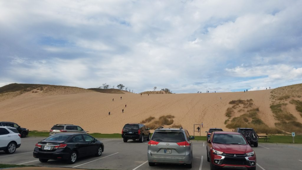 The 130-foot sand dune near the trailhead of the Dune Climb at the Sleeping Bear Dunes National Lakeshore in Michigan.