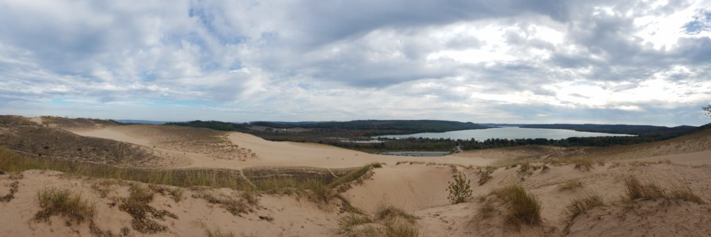 Panoramic view of the dunes and Glen Lake.