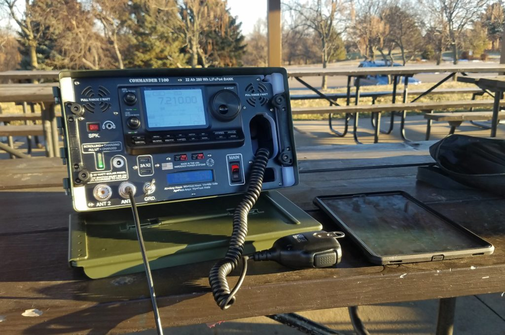 My 100 W all-band all-mode field radio station in action.