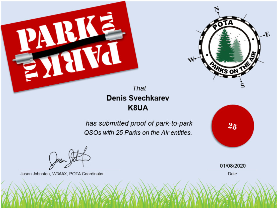 My recent activation in high winds allowed me reach the 25 QSOs mark on park-to-park contacts.